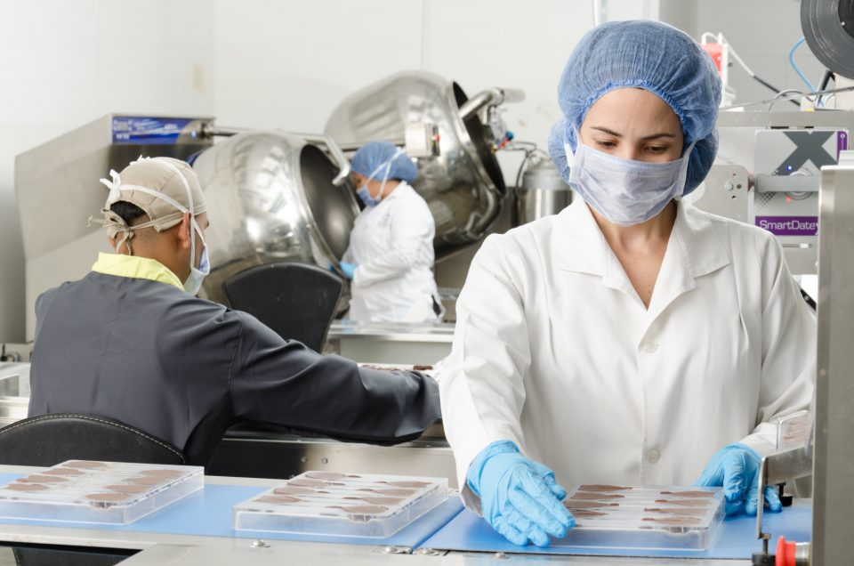 Preparing chocolates in a food manufacturing company